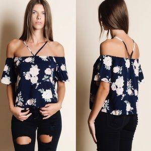 🆕 Floral Off Shoulder Tee Shirt